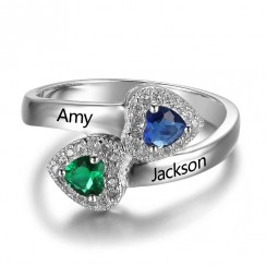 Charming Double Heart Promise Birthstone Ring