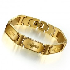 20.7cm Stainless Steel Bracelet with Golden Plated  (SSJ B02)