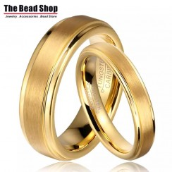 Full Gold IP Plating Mid Brushed Tungsten Couple Ring - Set