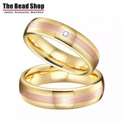 Middle Rose Gold Brushed Shinning Gold Couple Tungsten Wedding Ring - Set