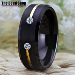 Premium Double Cz Gold Line Black Brushed Tungsten Ring
